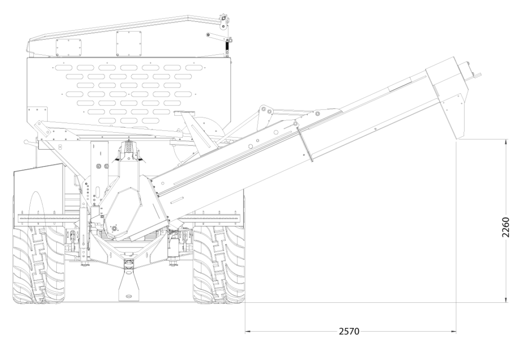 GS Grain Cart front view auger lower position